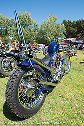 Invited builder Bobby Middleton's custom Shovelhead on Friday - for the builder-invite bike check-in for the Born-Free 6 Vintage Chopper and Classic Motorcycle Show. Silverado, CA. USA. June 27, 2014.  Photography ©2014 Michael Lichter.