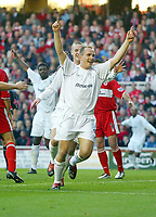 7/11/2004 - FA Barclayship Premiership - Middlesbrough v Bolton Wanderers - The Riverside Stadium<br />Bolton Wanderers' Henrik Pedersen, chased by Kevin Nolan, celebrates his goal after coming on as a substitute<br />Photo:Jed Leicester/Back Page Images