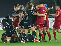 Rugby Union - 2017 / 2018 Guinness Pro14 - Ospreys vs. Scarlets<br /> <br />  a scuffle between the teams , at Liberty Stadium.<br /> <br /> COLORSPORT/WINSTON BYNORTH