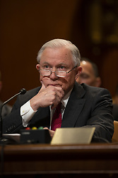 April 25, 2018 - Washington, District of Columbia, United States of America - Attorney General Jeff Sessions testifies during a Senate Appropriations sub committee hearing to examine the Department of Justice budget at the United States Capitol in Washington, DC on April 25, 2018. Credit: Alex Edelman / CNP (Credit Image: © Alex Edelman/CNP via ZUMA Wire)