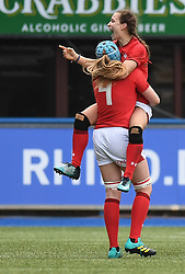 Wales' Jasmine Joyce Celebrates at final Whistle<br /> Wales Women v Ireland Women<br /> Guinness Six Nations 2019<br /> Cardiff Arms Park<br /> <br /> Photographer Mike Jones/Replay Images<br /> <br /> Guinness Six Nations 2019<br /> Cardiff Arms Park<br /> Cardiff.<br /> 17th March 2019<br /> <br /> World Copyright © Replay Images . All rights reserved. info@replayimages.co.uk - http://replayimages.co.uk