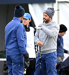 Ruud Gullit (left) and Jamie Redknapp on the first tee during day two of the Alfred Dunhill Links Championship at Carnoustie. Picture date: Friday October 1, 2021.