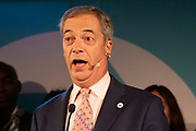 Brexit party leader, Nigel Farage addresses delegates at the final event of the Brexit Party Tour in London, United Kingdom on 27th September 2019. In the event of a general election being called, the party has already selected prospective parliamentary candidates in  constituencies across the UK .