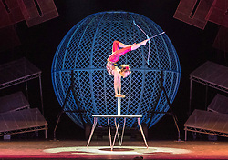 Celebrating the 250th anniversary of the circus, the contemporary circus Cirque Berserk starts its 2018 UK tour in Edinburgh. The international troupe includes over thirty jugglers, acrobats, aerialists, dancers, drummers and daredevil stuntmen.<br /> <br /> Pictured: Odka, a contortionist from Mongolia with bow and arrow skills