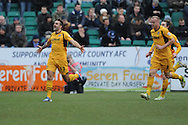 Andy Sandell (13) of Newport County celebrates on scoring his sides 3rd goal during the Skybet football league two match, Newport county v Chesterfield at Rodney Parade in Newport, South Wales on Sunday 1st Dec 2013. pic by Jeff Thomas, Andrew Orchard sports photography,