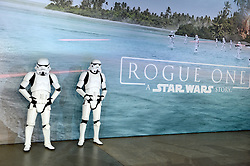 Storm Troopers attending the Rogue One: A Star Wars Story Premiere, at the Tate Modern, London. Picture Credit Should Read: Doug Peters/EMPICS Entertainment