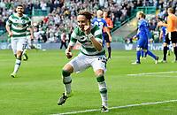 15/07/15 UEFA CHAMPIONS LEAGUE QUALIFIER<br /> CELTIC V STJARNAN<br /> CELTIC PARK - GLASGOW<br /> Celtic ace Stefan Johansen celebrates his goal.