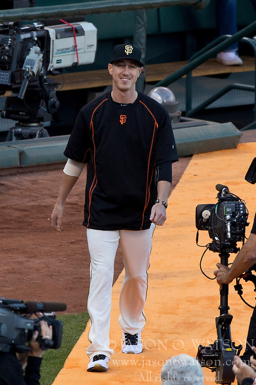 SAN FRANCISCO, CA - APRIL 18:  Tim Lincecum #55 of the San Francisco Giants enters the field during the 2014 World Series ring ceremony before the game against the Arizona Diamondbacks at AT&T Park on April 18, 2015 in San Francisco, California.  The San Francisco Giants defeated the Arizona Diamondbacks 4-1. (Photo by Jason O. Watson/Getty Images) *** Local Caption *** Tim Lincecum