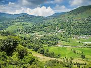 04 AUGUST 2015 - BUNGAMATI, NEPAL:  Rice fields and mountains near Bungamati, Nepal.            PHOTO BY JACK KURTZ