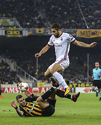 ATHENS, Nov. 3, 2017  Ricardo Rodriguez(UP) of AC Milan competes during the UEFA Europa League group D match between AEK Athens and AC Milan in Athens, Greece on Nov. 2, 2017. The match ended with a 0-0 tie. (Credit Image: © Lefteris Partsalis/Xinhua via ZUMA Wire)