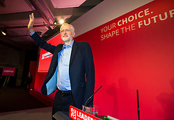 © Licensed to London News Pictures. 12/09/2015. London, UK. JEREMY CORBYN after the announcement that he is the new Labour Party leader. The announcement of the new leader of the Labour Party at the QEII centre in Westminster, London on September 12, 2015. Former leader ED Miliband resigned after a heavy defeat at the last election. Photo credit: Ben Cawthra/LNP
