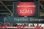 a view of the match attendance is displayed.  Euro 2016 qualifying match, Wales v Israel at the Cardiff city stadium in Cardiff, South Wales on Sunday 6th Sept 2015.  pic by Andrew Orchard, Andrew Orchard sports photography.