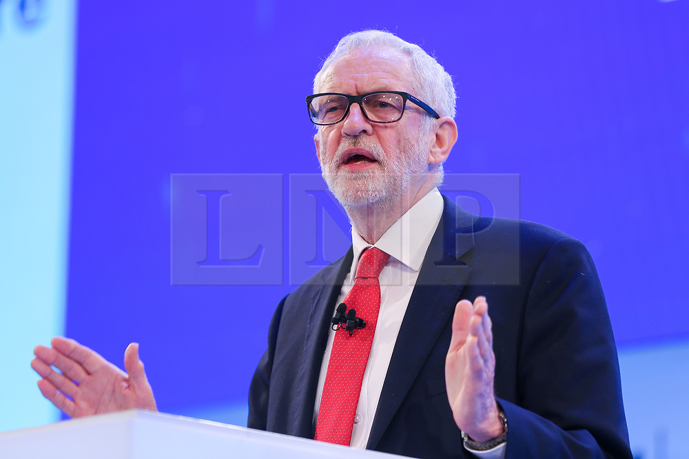 © Licensed to London News Pictures. 18/11/2019. London, UK. Leader of the Labour Party, JEREMY CORBYN makes a keynote speech at the annual CBI (Confederation of British Industry) conference at Intercontinental Hotel, Greenwich. Photo credit: Dinendra Haria/LNP
