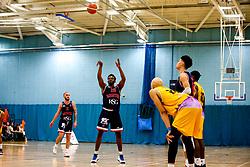 Marcus Delpeche of Bristol Flyers shoots - Photo mandatory by-line: Robbie Stephenson/JMP - 10/04/2019 - BASKETBALL - UEL Sports Dock - London, England - London Lions v Bristol Flyers - British Basketball League Championship