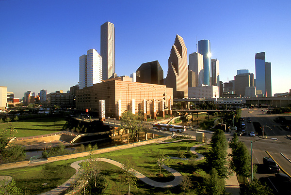 Stock photo of the downtown skyline and Theater District seen from the northwestern side