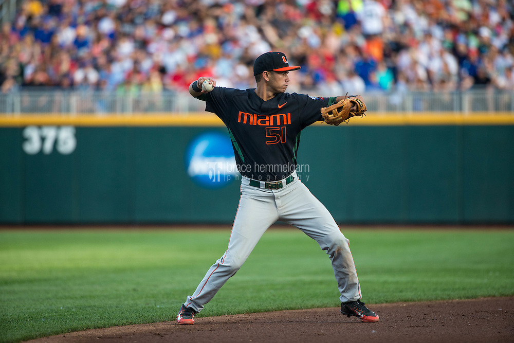 Brandon Lopez (51) of the Miami Hurricanes throws during a game between the Miami Hurricanes and Florida Gators at TD Ameritrade Park on June 13, 2015 in Omaha, Nebraska. (Brace Hemmelgarn)