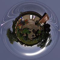Summertime Night Sky over New Jersey (360 Little Planet). Composite of 360 images taken with a Ricoh Theta Z1 camera (ISO 400, dual 2.6 mm fisheye lens, f/3.5, 60 sec).