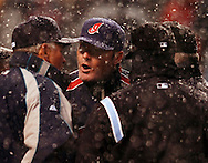 .Cleveland manager Eric Wedge has words for manager Mike Hargrove, left, of Seattle  in the top of the fifth inning with the bases loaded and the Mariners at bat. Hargrove convinced the umpires to stop play with two strikes and two outs in the top of the fifth. The game was called more than an hour later..Snow delayed the home opener of the Cleveland Indians/Seattle Mariners contest at Jacobs Field, April 6, 2007