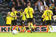 Burton Albion defender Kyle McFadzean (5) heads in a goal and celebrates, 2-0 during the EFL Sky Bet League 1 match between Burton Albion and Sunderland at the Pirelli Stadium, Burton upon Trent, England on 15 September 2018.