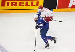 Sacha Treille of France vs Yegor Sharangovich of Belarus during the 2017 IIHF Men's World Championship group B Ice hockey match between National Teams of France and Belarus, on May 12, 2017 in AccorHotels Arena in Paris, France. Photo by Vid Ponikvar / Sportida