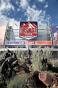 General view exterior photo of Sports Authority Field at Mile High stadium prior to the Denver Broncos NFL week 1 season opening football game against the Baltimore Ravens on Thursday, Sept. 5, 2013 in Denver. ©Paul Anthony Spinelli