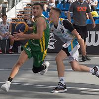 Matheus de Carvalho Gueiros (L) of Brazil and Radislav Rodionov (R) of Kazakhstan vies for the ball during the Men's Brazil vs Kazakhstan match of the FIBA 3x3 U18 World Cup held in Debrecen, Hungary on August 26, 2021. ATTILA VOLGYI