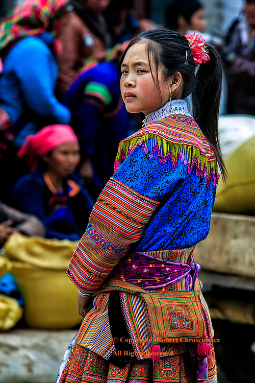 Bac Ha Flower: A young lady waits in the traditional dress of the Flower Hmong Hill Tribe, during the morning market in Bac Ha Vietnam.
