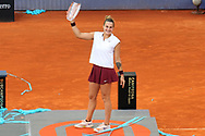 Aryna Sabalenka of Belarus with the champions trophy after the final match at the Mutua Madrid Open 2021, Masters 1000 tennis tournament on May 8, 2021 at La Caja Magica in Madrid, Spain - Photo Laurent Lairys / ProSportsImages / DPPI