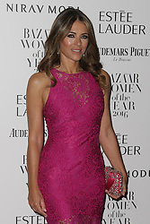 Elizabeth Hurley arrives at Claridge's Hotel in London to attend the Harper's Bazaar Women of the Year Awards.