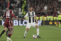 May 3, 2019 - Turin, Piedmont, Italy - Leonardo Spinazzola (Juventus FC) celebrates after scoring with teammates during the Serie A football match between Juventus FC and Torino FC at Allianz Stadium on May 03, 2019 in Turin, Italy..Final results: 1-1. (Credit Image: © Massimiliano Ferraro/NurPhoto via ZUMA Press)