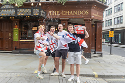Licensed to London News Pictures. 11/07/2021. London, UK. Fans gather in Trafalgar Square in London ahead of England's Euro 2020 finals match. England take on Italy in the Euro 2020 final at the iconic Wembley Stadium this evening. Photo credit: Alex Lentati/LNP