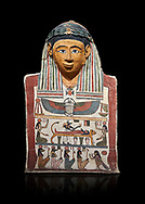 Ancient Egyptian cartonnage mummy mask with mummification scene, Pyolemaic Period, (332-30BC),  Egyptian Museum, Turin. Cat 2250. black background .<br /> <br /> If you prefer to buy from our ALAMY PHOTO LIBRARY  Collection visit : https://www.alamy.com/portfolio/paul-williams-funkystock/ancient-egyptian-art-artefacts.html  . Type -   Turin   - into the LOWER SEARCH WITHIN GALLERY box. Refine search by adding background colour, subject etc<br /> <br /> Visit our ANCIENT WORLD PHOTO COLLECTIONS for more photos to download or buy as wall art prints https://funkystock.photoshelter.com/gallery-collection/Ancient-World-Art-Antiquities-Historic-Sites-Pictures-Images-of/C00006u26yqSkDOM