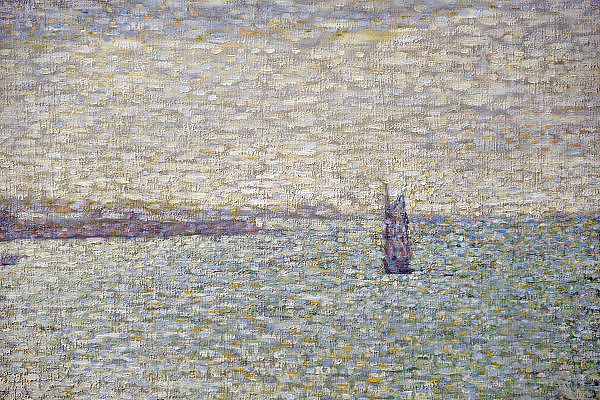 Nederland, Otterlo, 24-5-2014De tentoonstelling Seurat, Meester van het pointillisme in het Kröller-Müller Museum. De tentoonstelling vindt plaats vanwege de viering van het 75-jarig jubileum van het museum. De Franse kunstenaar, kunstschilder George Seurat was de meester van het pointillisme. DetailFoto: Flip Franssen/Hollandse Hoogte