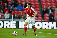 Middlesbrough defender George Friend (3) looking to cross the ball during the The FA Cup match between Middlesbrough and Sheffield Wednesday at the Riverside Stadium, Middlesbrough, England on 8 January 2017. Photo by Simon Davies.