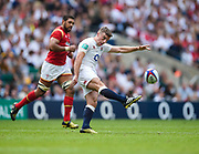 England's George Ford clears the ball during the The Old Mutual Wealth Cup match England -V- Wales at Twickenham Stadium, London, Greater London, England on Sunday, May 29, 2016. (Steve Flynn/Image of Sport)
