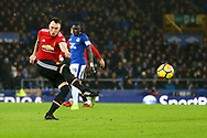 Phil Jones of Manchester United shoots at goal but sees his effort go wide of goal. Premier league match, Everton v Manchester Utd at Goodison Park in Liverpool, Merseyside on New Years Day, Monday 1st January 2018.<br /> pic by Chris Stading, Andrew Orchard sports photography.