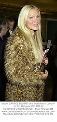 Model CAPRICE BOURRET at a reception in London on 3rd October 2001.OSR 67