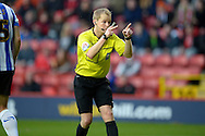 Referee Gavin Ward in action. Skybet football league championship match, Charlton Athletic v Sheffield Wednesday at The Valley  in London on Saturday 7th November 2015.<br /> pic by John Patrick Fletcher, Andrew Orchard sports photography.
