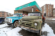 A Soviet Union old school ZiL truck is seen loaded with gas tubes outside a gas station in Sevan on Sunday, Jan 16, 2021. <br /> Armenia buys its gas from Russia for $110 per 1,000 cubic meters, with 84% of the population having access to gas at home. The gas used for cars is three or four times cheaper than gasoline and half the price of diesel fuel and so people convert their cars to the gas. (Photo/ Vudi Xhymshiti)