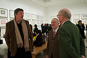 STEPHEN FRY; GILBERT AND GEORGE, Gilbert and George private view. White Cube. Mason's yard. London. 13 January 2011. -DO NOT ARCHIVE-© Copyright Photograph by Dafydd Jones. 248 Clapham Rd. London SW9 0PZ. Tel 0207 820 0771. www.dafjones.com.