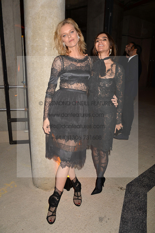 Eva Herzigova and Carine Roitfeld at the Veuve Clicquot Widow Series launch party curated by Carine Roitfeld and CR Studio held at Islington Green, London England. 19 October 2017.