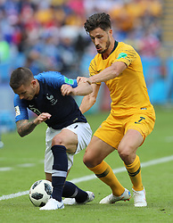 KAZAN, June 16, 2018  Lucas Hernandez (L) of France vies with Mathew Leckie of Australia during a group C match between France and Australia at the 2018 FIFA World Cup in Kazan, Russia, June 16, 2018. (Credit Image: © Yang Lei/Xinhua via ZUMA Wire)