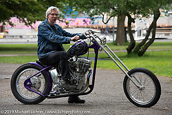 Charlie Swordson after getting the Best of Show award for his 1970's Harley-Davidson Shovelhead chopper at the Twin Club's annual Custom Bike Show in Norrtälje, Sweden. Saturday, June 1, 2019. Photography ©2019 Michael Lichter.