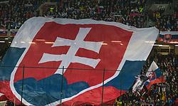 March 21, 2019 - Trnava, Slovakia - Slovak fans during the National anthem before the Slovakia and Hungary European Qualifying match at Anton Malatinsky Arena on March 21, 2019 in Trnava, Slovakia. (Credit Image: © Robert Szaniszlo/NurPhoto via ZUMA Press)