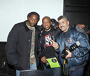 DJ Just Ice, Ralph McDaniels and Photographer Joe Conzo at ' Bring out the Sound System: The West Indian Roots of HipHop held at The Point on February 28, 2009 in the Bronx, NY..It is a known fact that the trinity of Hip Hop DJ pioneers have roots in the West Indies including DJ Kool Herc, Afrika Bambaataa, and Grandmaster Flash. Other early artists who made significant contributions to the music include Kool DJ Red Alert, KRS-One, Doug E. Fresh, among others.   ..Post World War II Bronx had a growing community of West Indian immigrants, particularly after the U.S. Immigration Act of 1965.  Recreation rooms at 1520 Sedgwick where Kool Herc deejayed and Bronx River Houses where Afrika Bambaataa held court as well as many local parks and early venues like the Black Door, where Grandmaster Flash rocked, mark the cradle of Hip Hop.