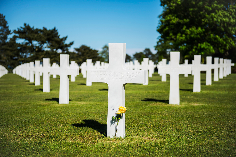 The grave of an unknown soldier at the Normandy American Cemetery and Memorial in Colleville-sur-Mer, Normandy, France