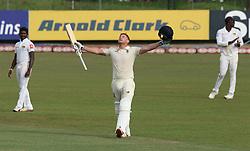 November 23, 2018 - Colombo, Sri Lanka - England cricketer Jonny Bairstow celebrates after scoring 100 runs during the 1st day's play in the 3rd and final test cricket match between England and Sri Lanka at SSC international cricket ground, Colombo, Sri Lanka. 11-23-2018  (Credit Image: © Tharaka Basnayaka/NurPhoto via ZUMA Press)