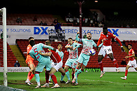 Football - 2020 / 2021 Sky Bet Championship - Play-offs - Semi-final 1st Leg - Barnsley vs Swansea City - Oakwell<br /> <br /> Daryl Dike of Barnsley heads at goal