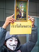 """09 JUNE 2013 - BANGKOK, THAILAND:  A White Mask protester holds up a photo of Bhumibol Adulyadej, the King of Thailand, during an anti-government protest. The White Mask protesters are ultra royalists who support the King and wear the Guy Fawkes mask popularized by the movie """"V for Vendetta"""" and the protest groups Anonymous and Occupy. Several hundred members of the White Mask movement gathered on the plaza in front of Central World, a large shopping complex at the Ratchaprasong Intersection in Bangkok, to protest against the government of Thai Prime Minister Yingluck Shinawatra. They say that her government is corrupt and is a """"puppet"""" of ousted (and exiled) former PM Thaksin Shinawatra. Thaksin is Yingluck's brother. She was elected in 2011 when her brother endorsed her.    PHOTO BY JACK KURTZ"""