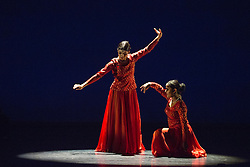 © Licensed to London News Pictures. 28/01/2016. London, UK. Khoj: The Search, performed by Vidya Patel with Jaina Modasia. Photocall for Sampled at Sadler's Wells Theatre. Sampled features a wide variety of dance, from classical ballet to hip hop, contemporary and tango, alongside workshops and events taking place throughout the building. Performances take place on 29 and 30 January 2016. Photo credit: Bettina Strenske/LNP